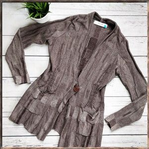 ANTHROPOLOGIE SPARROW Brown Long Button Cardigan L